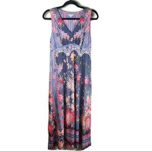 Johnny Was Marbay Retro Floral V-Neck Maxi Dress